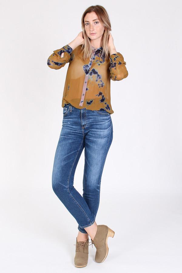 Raquel Allegra Chiffon button front henley in ochre