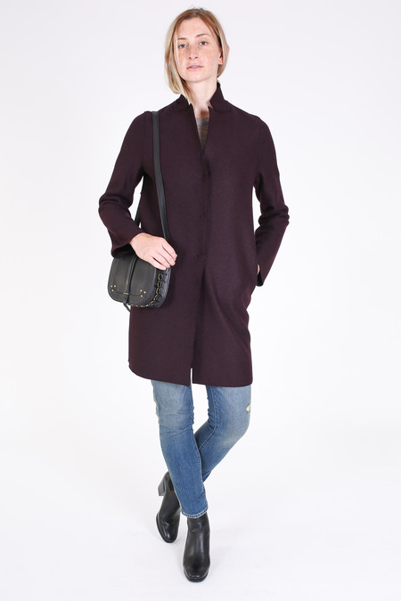 Harris Wharf London Cocoon coat in burgundi