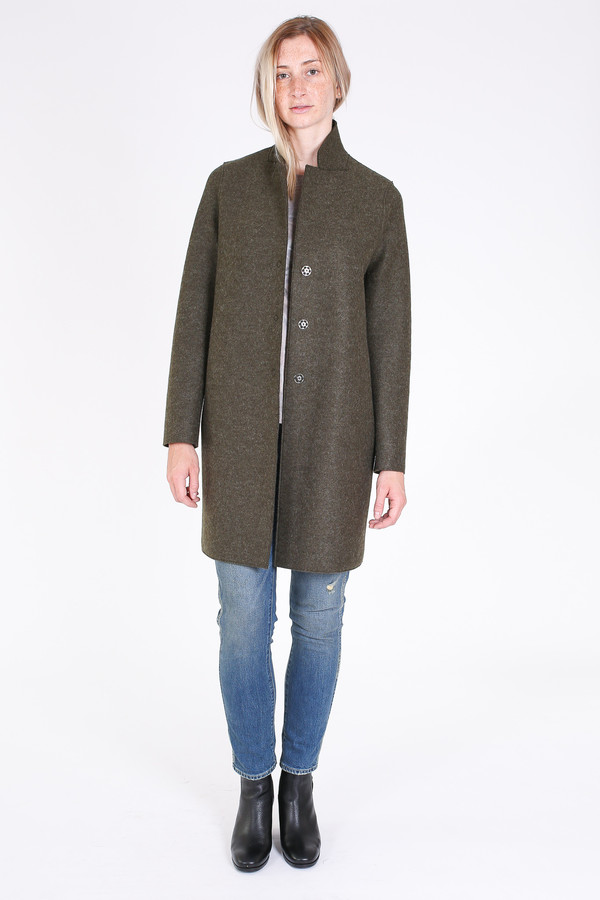Harris Wharf London Cocoon coat in loden