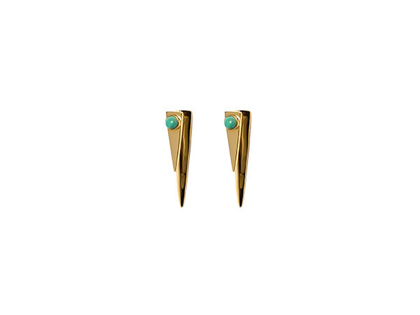 LIZZIE FORTUNATO PYRAMID TURQUOISE EARRINGS