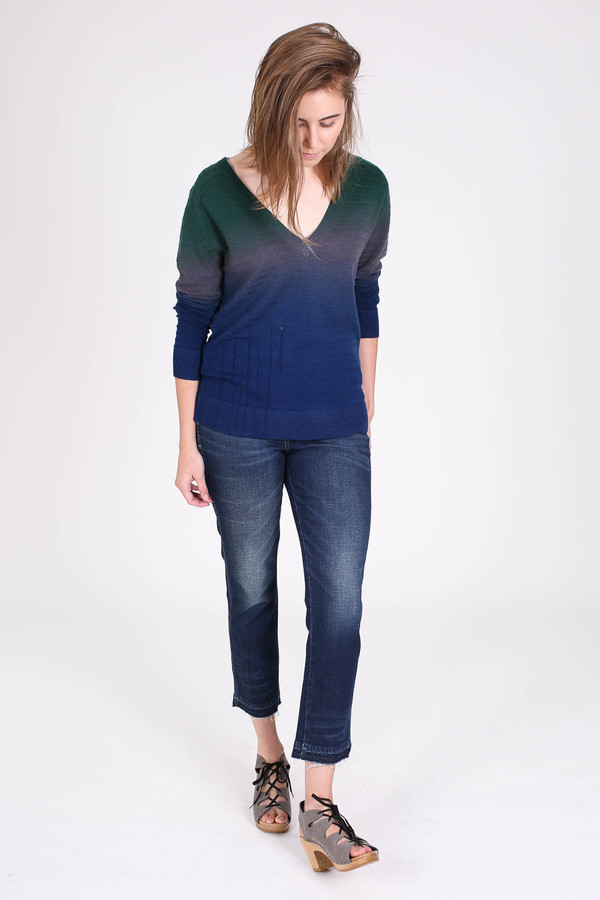 Raquel Allegra Deep v-neck dip dye pullover in midnight