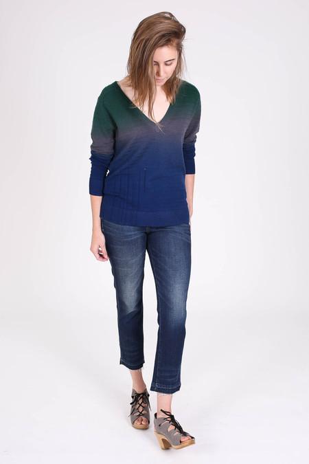 Raquel Allegra Deep v-neck dip dye pullover in midnight