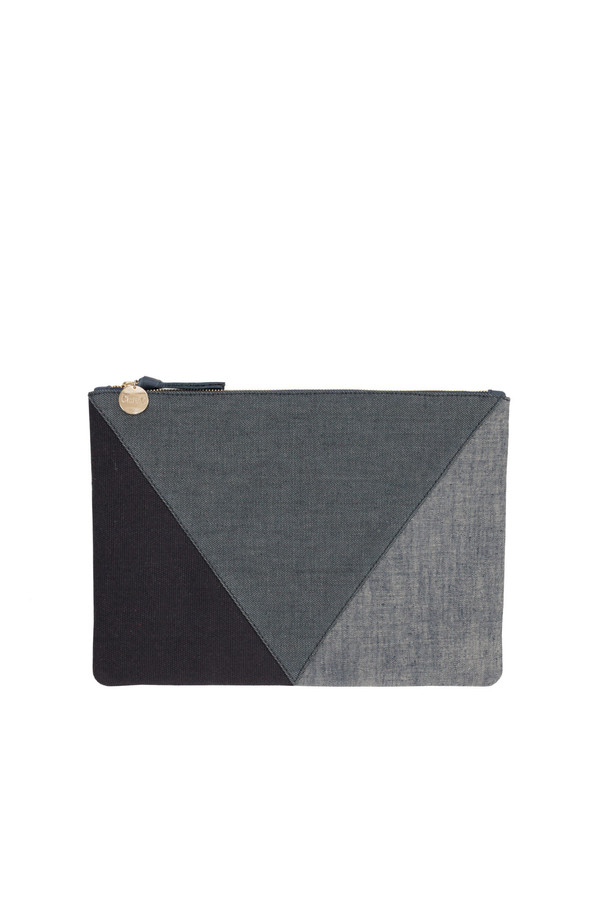 Clare V. flat clutch in patchwork denim