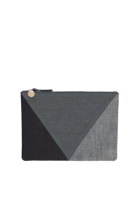 Clare V. flat clutch in patchwork denim