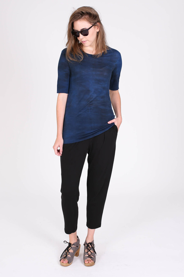 Raquel Allegra Jersey basic tee in midnight