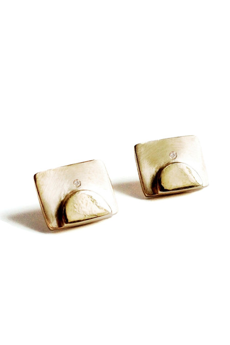 The Things We Keep Juven studs in brass/white diamond