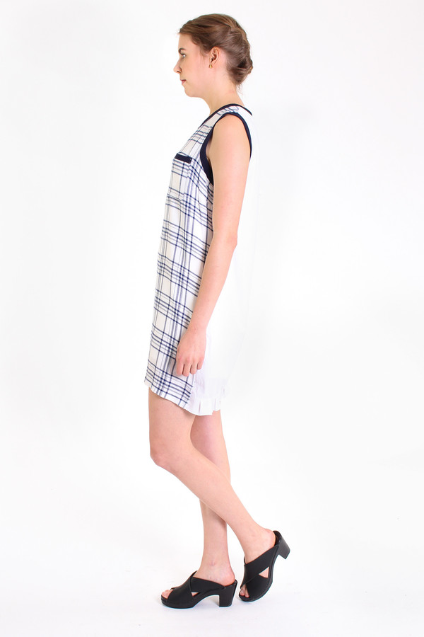 Clu Mix media dress with ruffle hem in Navy