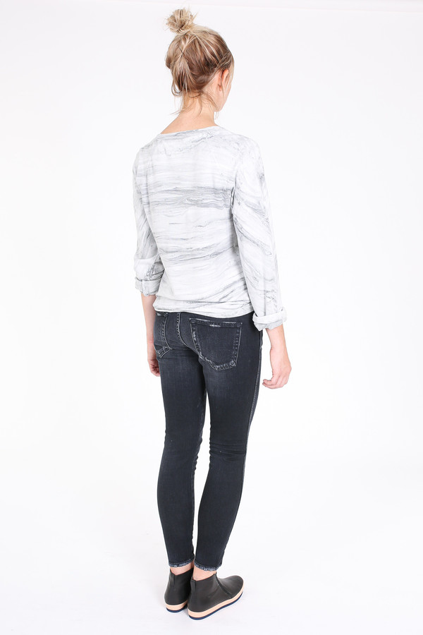 Raquel Allegra Raglan marble sweatshirt in grey