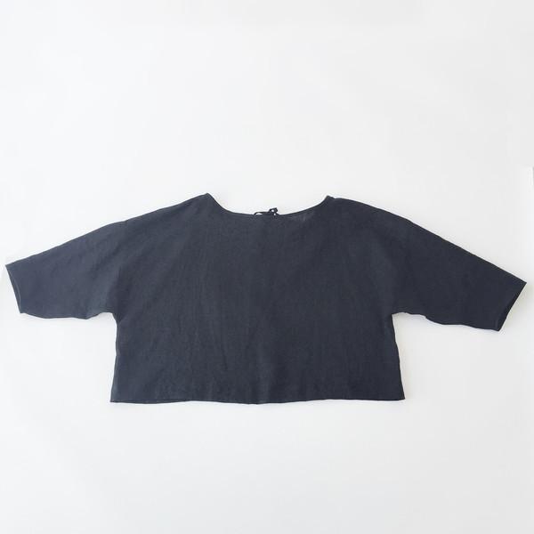 LLOYD Black Linen Tie Back Top