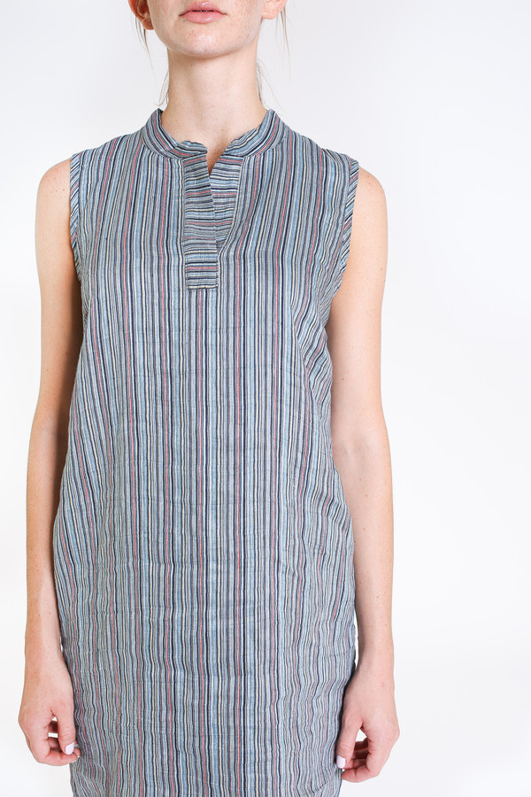 Nuthatch Sleeveless shirt dress in blue combo stripe