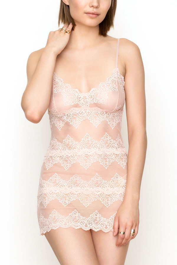 Only Hearts So fine lace chemette in nudie