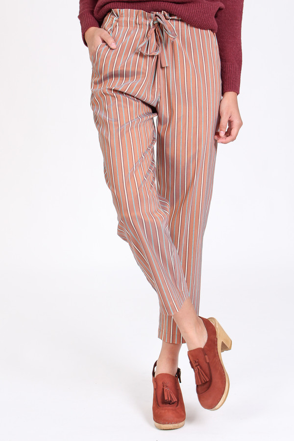 Raquel Allegra Tie front pant in copper stripe