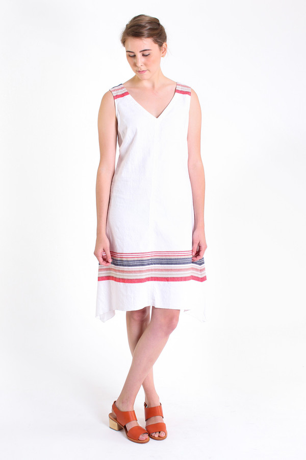 Nuthatch Washed border v-neck dress in multi