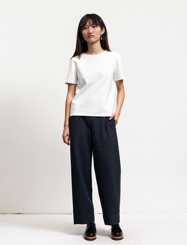 Lemaire Womens Elasticated Pants Cropped Onyx