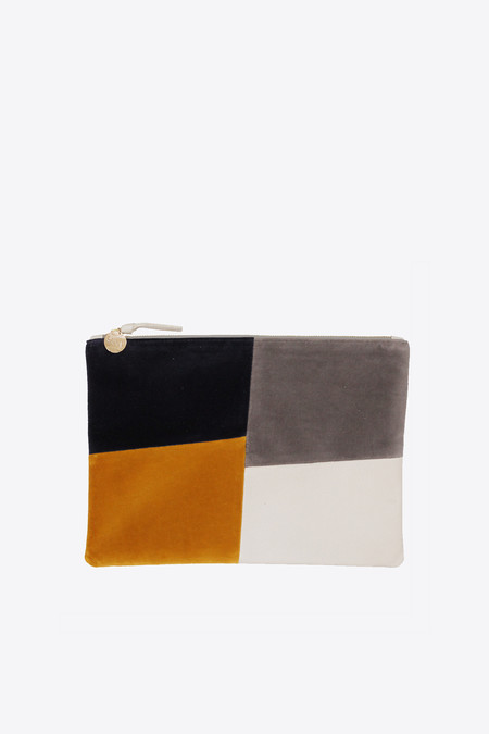 Clare V. flat clutch in patchwork grid