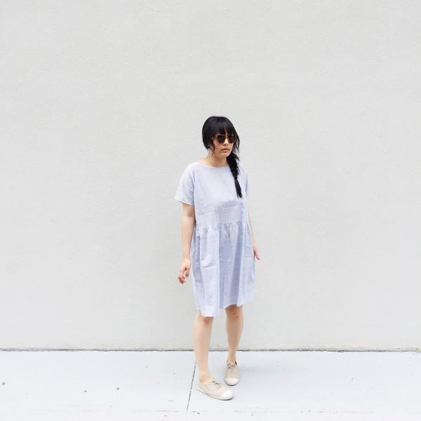 Ilana Kohn Brookes Dress, Blue Checkers, Cotton Lawn