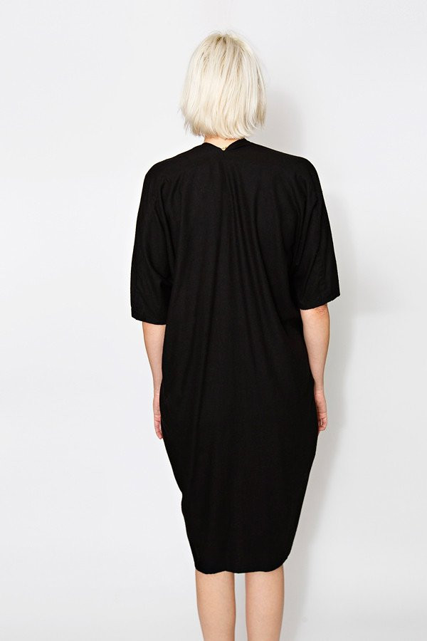 Miranda Bennett Muse Dress, Oversized, Black Silk Noil