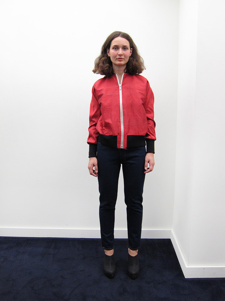 Alexa Stark Red Silk Bomber