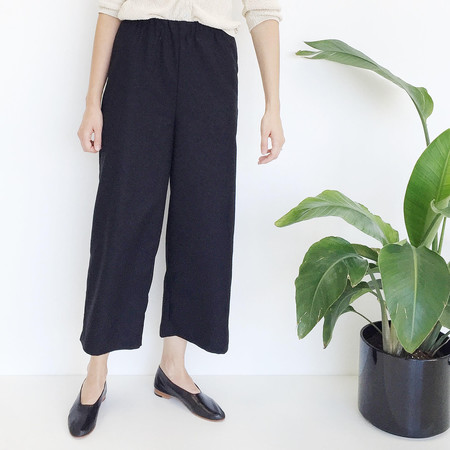 Open Air Museum Black Raw Silk Pant