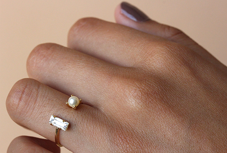 Bing Bang Open Baguette Ring