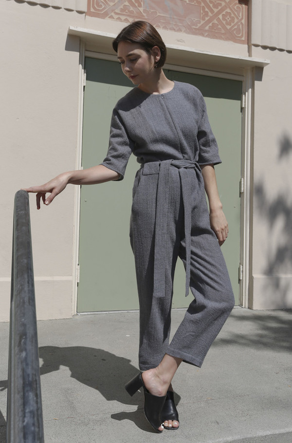 No.6 Mae Front Zip Jumpsuit in Grey Wool Gauze