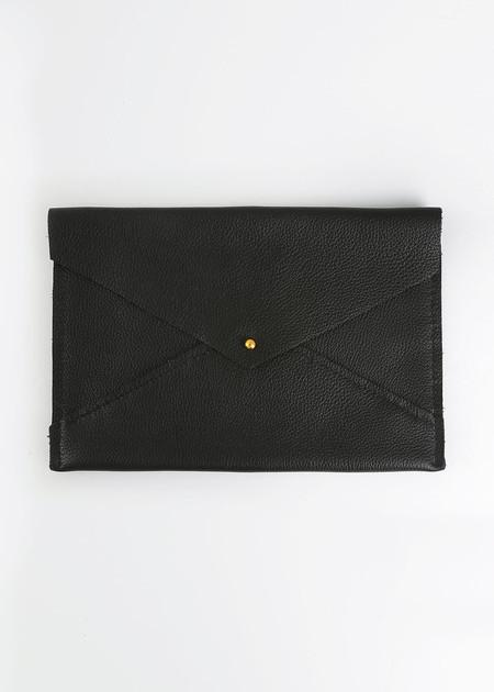 Sylvia Soo Leather Black Envelope Clutch