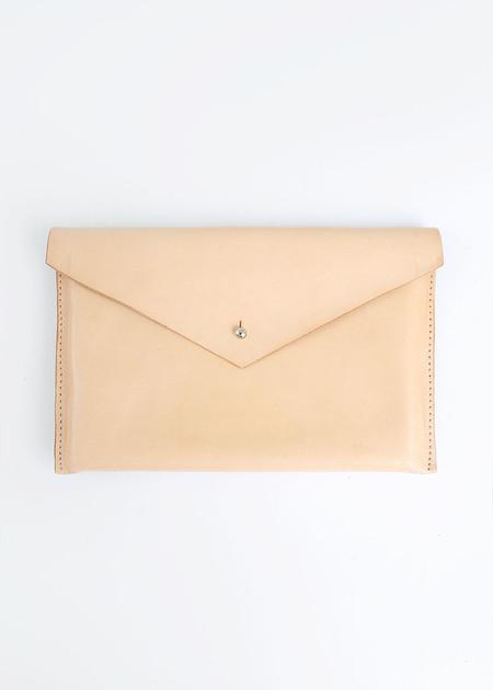 Sylvia Soo Leather Nude Envelope Clutch