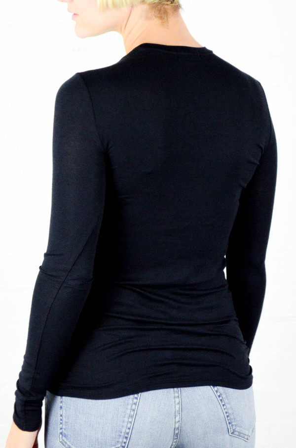 ATM Anthony Thomas Melillo ATM Black Long Sleeve Modal Rib Crew