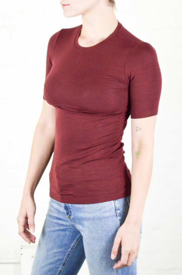 ATM Anthony Thomas Melillo ATM Rust Modal Rib Half Sleeve Crew Neck Tee