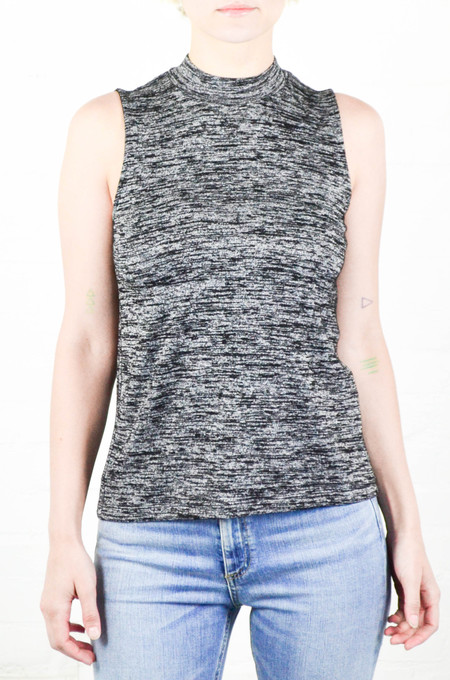 Rag and Bone Black Heather Hudson Mock Neck Tee