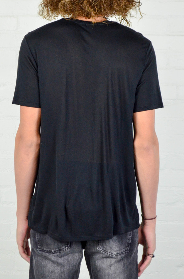 Men's ATM Anthony Thomas Melillo ATM Black Modal Jersey Crew Neck Tee