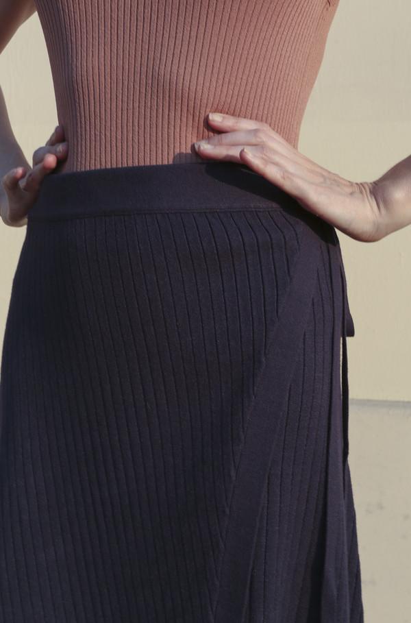 Pari Desai Hye Wrap Knit Skirt in Navy