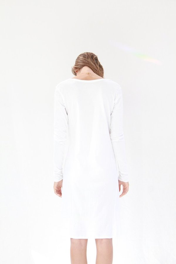 Kowtow Building Block Long Sleeve Dress White