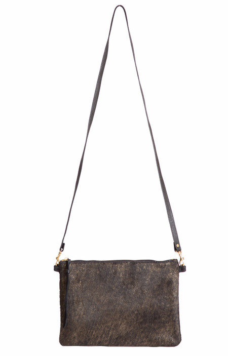 OLIVEVE queenie cross body in black and gold hair calf