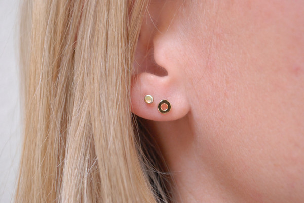 Bing Bang NYC Circle Studs - Yellow/Rose Gold or Silver