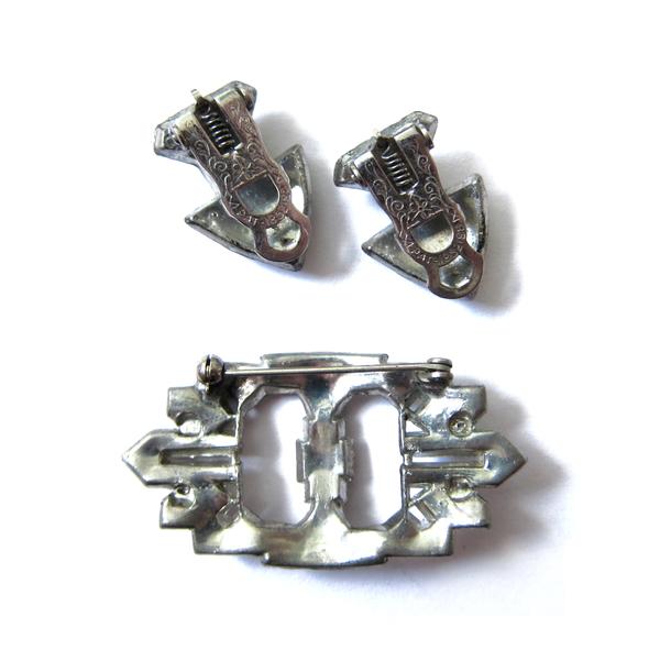 rhinestone deco brooch with clips