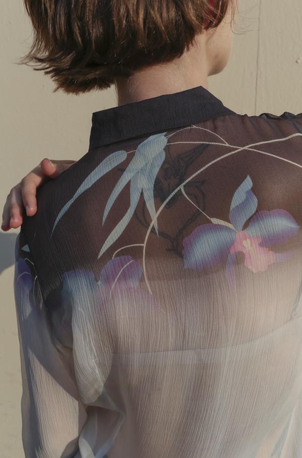 NONNA Vintage Dries Van Noten Delicate Silk Blouse with Flowers