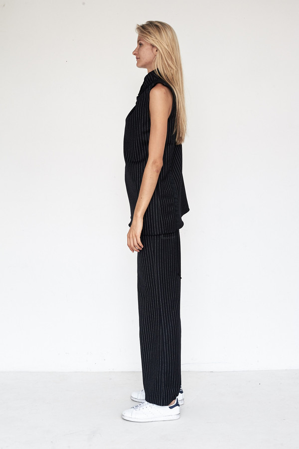 Kahle Wool Patch Pocket Wide Leg Pant