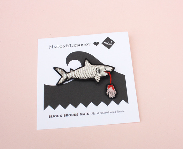 Macon & Lesquoy Embroidered Shark Pin