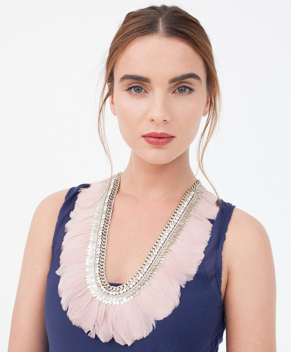 Deepa Gurnani Blush Pink Feather Cali Necklace