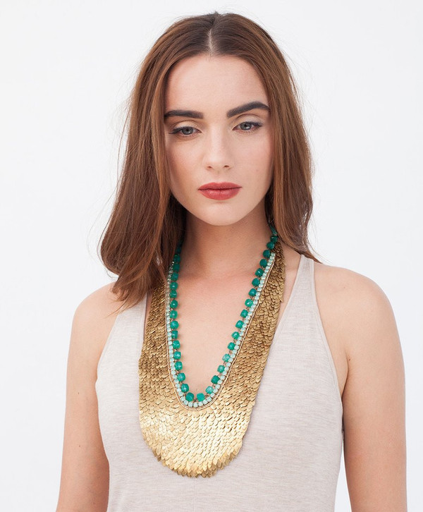 Deepa Gurnani Brass Sequin Mira Necklace