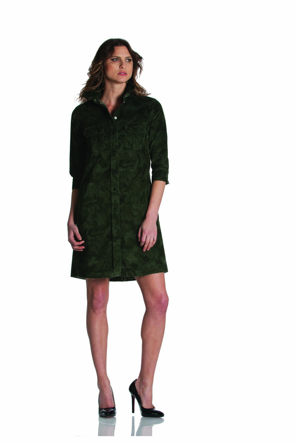 Etienne Marcel Camo Corduroy Mini Dress