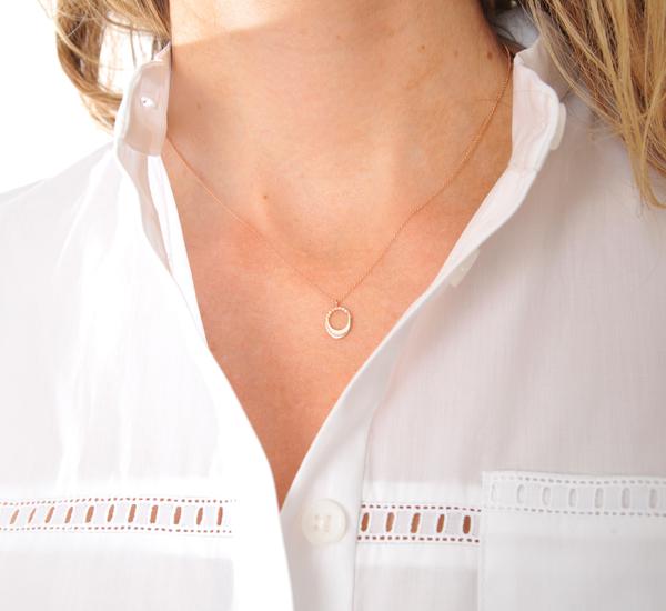 TR32 Pave Small Egg Rose Gold Necklace by Gabriela Artigas