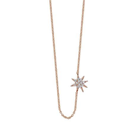 Gabriela Artigas 14 Rose Gold Single Pave Star Necklace