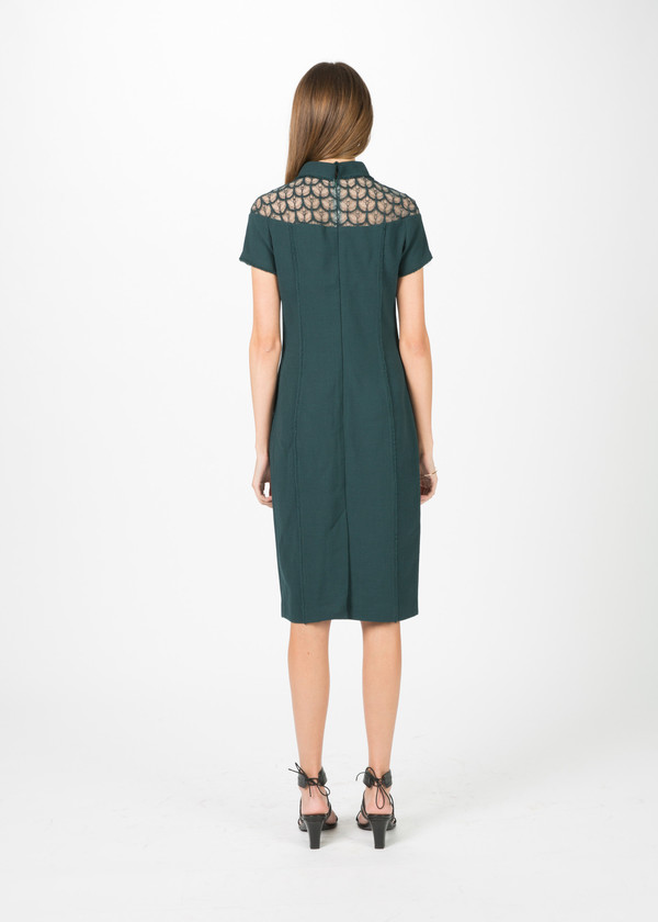 Amelia Toro Crepe and Lace Short Sleeve Dress