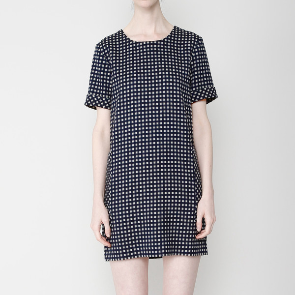 7115 by Szeki Pocket Shift Dress- Plaid FW16