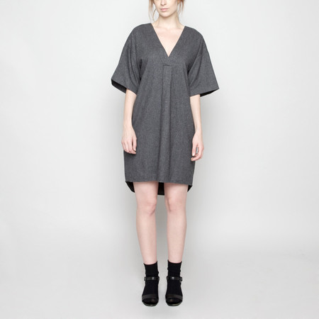 7115 by Szeki V-Neck Cocoon Wool Dress - Gray FW16