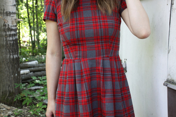 Birds of North America Woodnymph Dress - Red Plaid