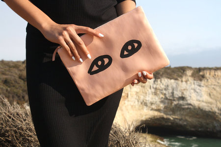 Clare V.  Blush Clutch with Eyes