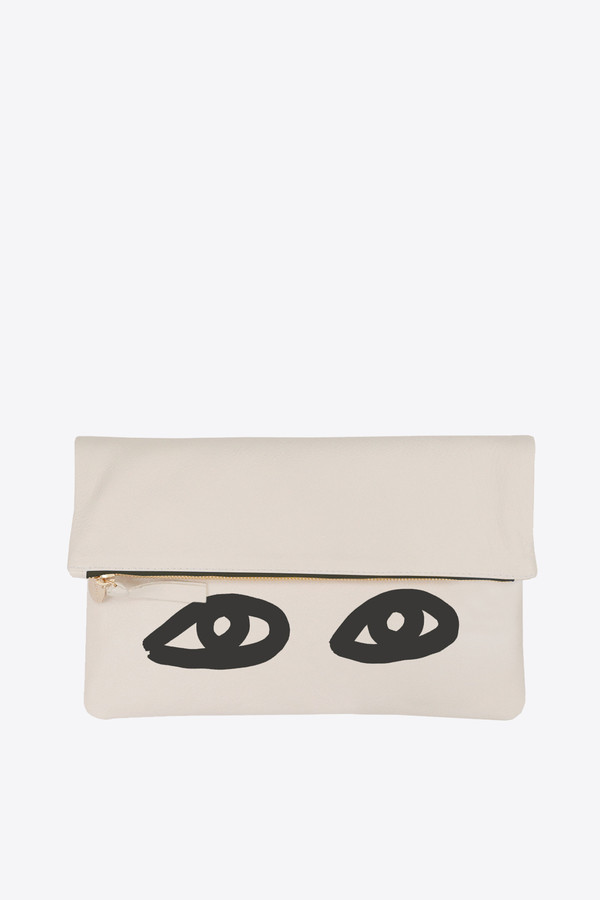 Clare V. Foldover Clutch in in cream with black eyes